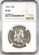 1963 Proof Franklin Silver Half Dollar Graded Pf 67 By Ngc