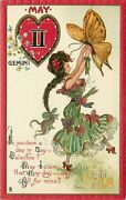 Tuck Zodiac Valentine Postcard 128 A/s Dwig May Gemini Girl And Butterfly
