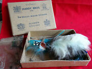 A Vintage Hardy Card Box With A Collection Of Mixed Fly Tying Feathers