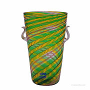 Fratelli Toso And039a Canneand039 Vase With Aventurin Murano Italy Ca. 1965