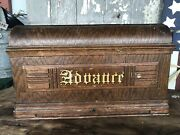 Antique Wood Coffin Cover Treadle Sewing Machine Unknown Model Gold Advaure