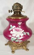 Antique Victorian Painted Porcelain And Metal Oil Lamp Base