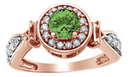 1 Ct Round Cut Green Real Diamond Frame Fancy Engagement Ring In 14k Rose Gold