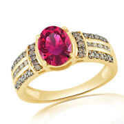 1.24 Ct Oval Pink Tourmaline And Champagne Diamond 10k Yellow Gold Engagement Ring