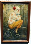 W.cortland Butterfield Oil On Canvas Clown Paitining On Tricycle 40 1/4 X 28.5
