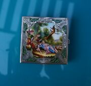 Beautiful Square Antique Italy 800 Sterling Ladies Vanity Compact W/scene