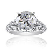 Diamond Solitaire With Accent Ring 14k White Gold 2.00 Cttw