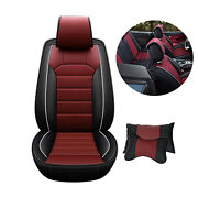 Universal Leather Car Seat Cover 5-seat Front Rear Full Set Waterproof W/ Pillow