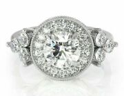 Round Cut Halo Vintage Engagement Rings Flower Style Prong 14k Gold In For Women