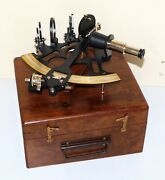 Nautical Vintage Brass Sextant 8 Marine Ship Working Instruments In Wooden Box