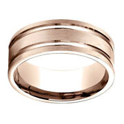 14k Rose Gold 8.00 Mm Comfort-fit Menand039s Wedding Band Ring Sz-9
