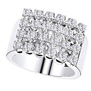 1.32 Ct Round Cut Real Diamond 14k White Gold Four Row Menand039s Wedding Band Ring