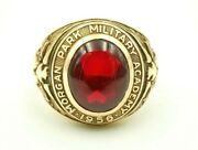 Vintage 1956 Morgan Park Military Academy 10k Yellow Gold Red Stone Class Ring