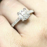 Round Cut Vintage Engagement Rings Single Row In 925 Sterling Silver For Women