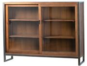 64 L Gianna Sideboard Recycled Wood Glass Sliding Doors Iron Frame Modern