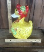 Mother Goose Cookie Jar Ceramic Made In Japan Yellow Duck Red Bonnet