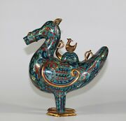 Qing Dynast Old Vintage Chinese Cloisonne Teapot Duck Horse 1165