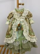 Rare Vtg Victorian Antique Bisque Doll Royalty Lace Ruffle Gold Dress