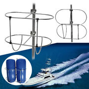 1pc Stainless Folding Double Fender Holder Rack Fit Boat 7/8 And 1 Rails