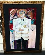 Man In Tuxedo With Martini Glass Large Byr.lowter Collins Gilt Wood Frame