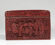 Qing Dynast Deep Carved Chinese Cinnabar Lacquer Cigar Box 1186
