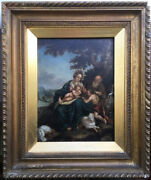 Antique Oil Painting, The Holy Family W/ St John The Baptist, 18th 19th Century