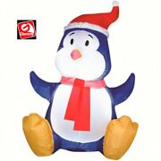 3 1/2and039 Gemmy Airblown Inflatable Christmas Blue Baby Penguin Yard Decoration