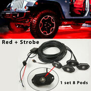 8 Pods Red Led Rock Lights Strobe Flash And Wiring Harness For Truck Suv Boat Atv