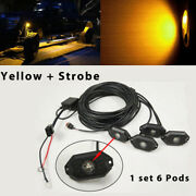 6 Pods Amber Led Rock Light Strobe Flash And Wiring Kit For Truck Marine Suv Boat