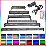 14/20/22/32/42/50 Inch Rgb Halo Chasing Led Light Bar Offroad Driving Atv Truck