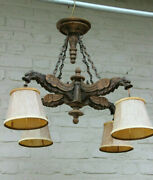 Antique French Gothic Castle 4 Dragon Chimaera Chandelier Wood Carved 19thc