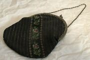 Great Vintage Beaded Purse Black With Silver Frame