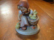 Early Full Bee And Crown 57  Chick Girl Hummel Figurine 3 Chicks In Basket