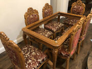 Vintage Solid Teak Wood Carved Dining Table 6 Chairs Set W/ Silk Upholstery
