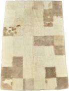 Eco Lambskin Cover Plaid Blend Grey Beige 70 7/8x47 3/16in Throw