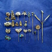 21 Antique Chinese Qing Gilt Silver Lady Hairpin Hair Pin Ornament China 19th C