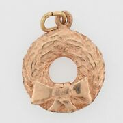 14k Rose Gold Vintage Textured Christmas Wreath And Bow Pendant