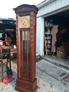 Antique Carved Oak Grandfathers Clock 3 Pendulumsvery Old 1900s. Works Great