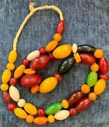 Vintage Spectacular African Trading Beads Necklace, 22 Long