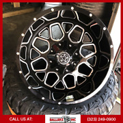 20x12 Dw14 Diablo Offroad On 33/12.50r20 M/t Tires Black And Milled Finish Fuel