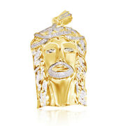 2.00 Ct Real Diamond Jesus Face Piece Head Pendant Charm In 14k Yellow Gold Over
