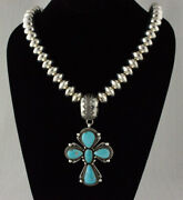 Silver Bead Cross Necklace With High Grade Natural Royal Blue Turquoise Pendant