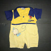 Baby Popeye The Sailor Man Blue Yellow Romper Shorts Outfit Size 3-6 Months Euc