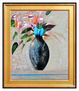 Peter Paone Original Surreal Flowers Painting Acrylic On Board Signed Still Life