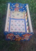 Vintage The Gong Bell Mfg Co Wooden Cradle Toy Crib Doll Bed Musical 1950and039s Usa