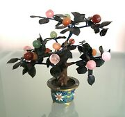 Antique Vintage Chinese Jade Bonsai Tree In Cloisonne Flower Pot 741a