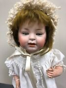 """15.5"""" Antique German Bisque Doll Jdk 211 Baby Orig Pate And Blonde Wig Sc1"""