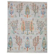 Barkat Rugs Hand-knotted Willow Tree Design Modern Size 5.1 X 7.0 Brrsf-6138