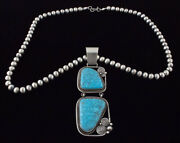 Sterling Silver Bead Necklace With Natural Morenci Web Turquoise Pendant