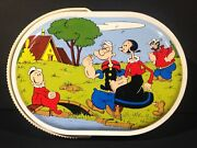 1970's Vintage Italian Popeye Metal Lunch Box Pail Tin Carry All From Italy Rare
